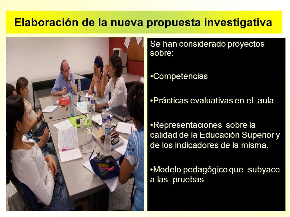 Se han considerado proyectos sobre: Competencias Prácticas evaluativas en el aula Representaciones sobre la calidad de la Educación Superior y de los