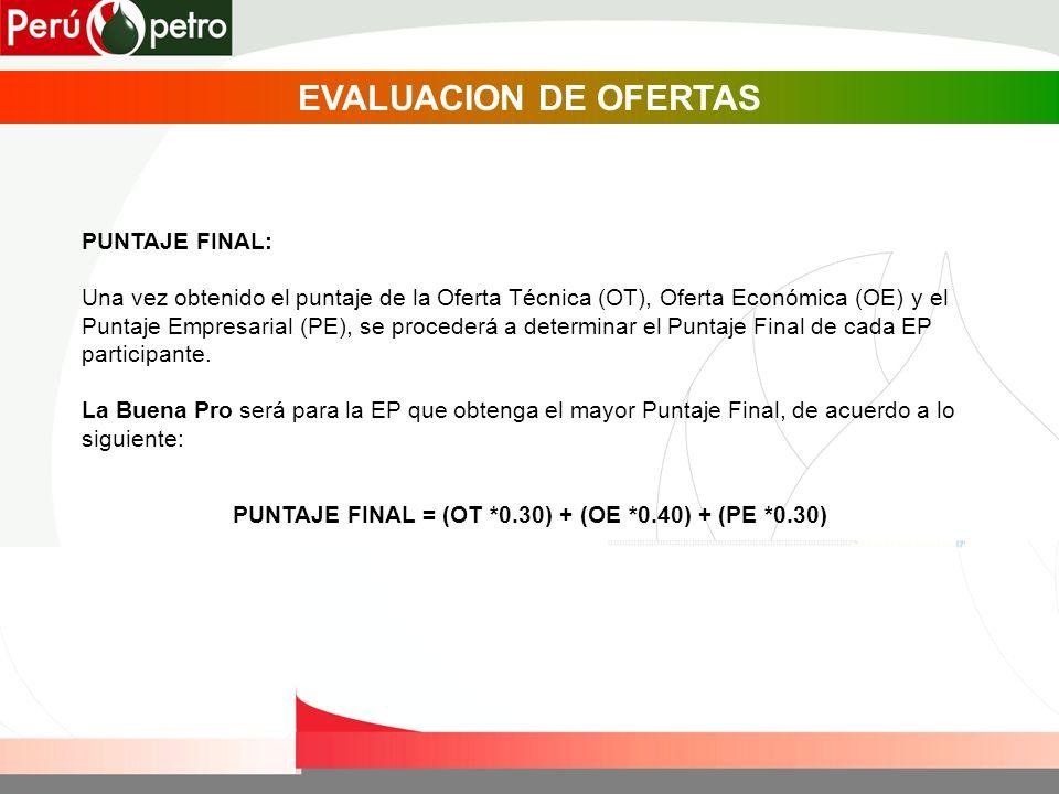 PUNTAJE FINAL: Una vez obtenido el puntaje de la Oferta Técnica (OT), Oferta Económica (OE) y el Puntaje Empresarial (PE), se procederá a determinar el Puntaje Final de cada EP participante.