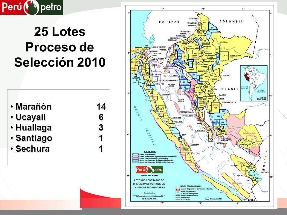 25 Lotes Proceso de Selección 2010 Marañón14 Marañón14 Ucayali 6 Ucayali 6 Huallaga 3 Huallaga 3 Santiago 1 Santiago 1 Sechura 1 Sechura 1