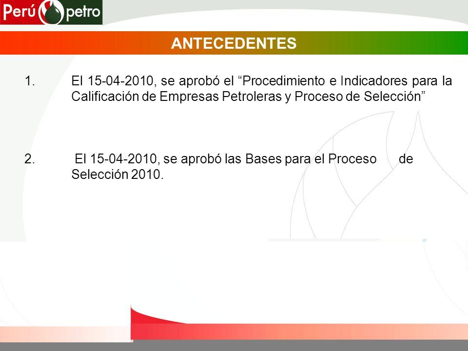 1.El 15-04-2010, se aprobó el Procedimiento e Indicadores para la Calificación de Empresas Petroleras y Proceso de Selección ANTECEDENTES 2.