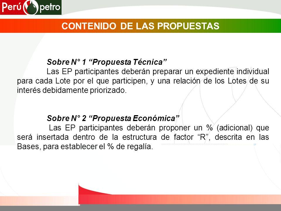 CONTENIDO DE LAS PROPUESTAS Sobre N° 1 Propuesta Técnica Las EP participantes deberán preparar un expediente individual para cada Lote por el que part