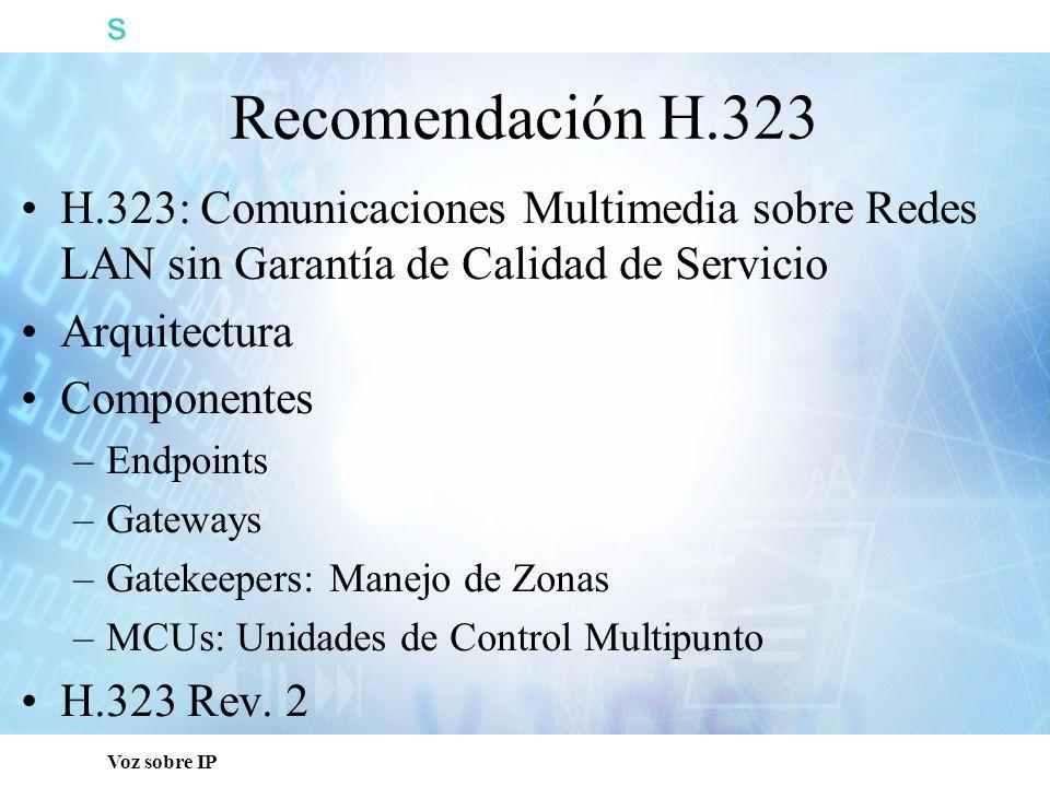 s Voz sobre IP Recomendación H.323 H.323: Comunicaciones Multimedia sobre Redes LAN sin Garantía de Calidad de Servicio Arquitectura Componentes –Endp