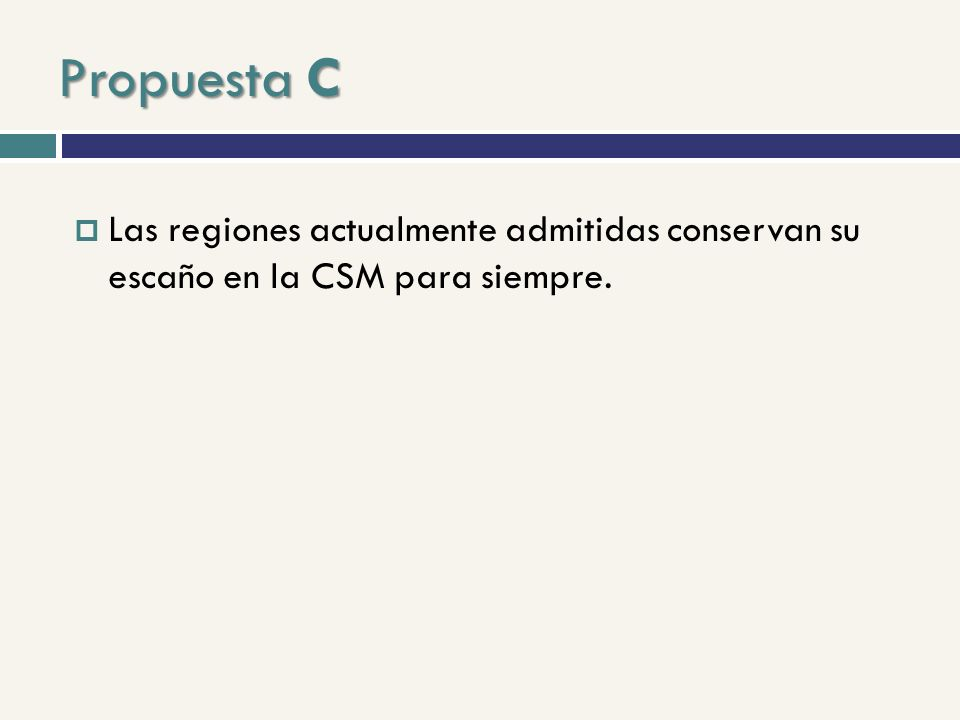 Propuesta C Las regiones actualmente admitidas conservan su escaño en la CSM para siempre.
