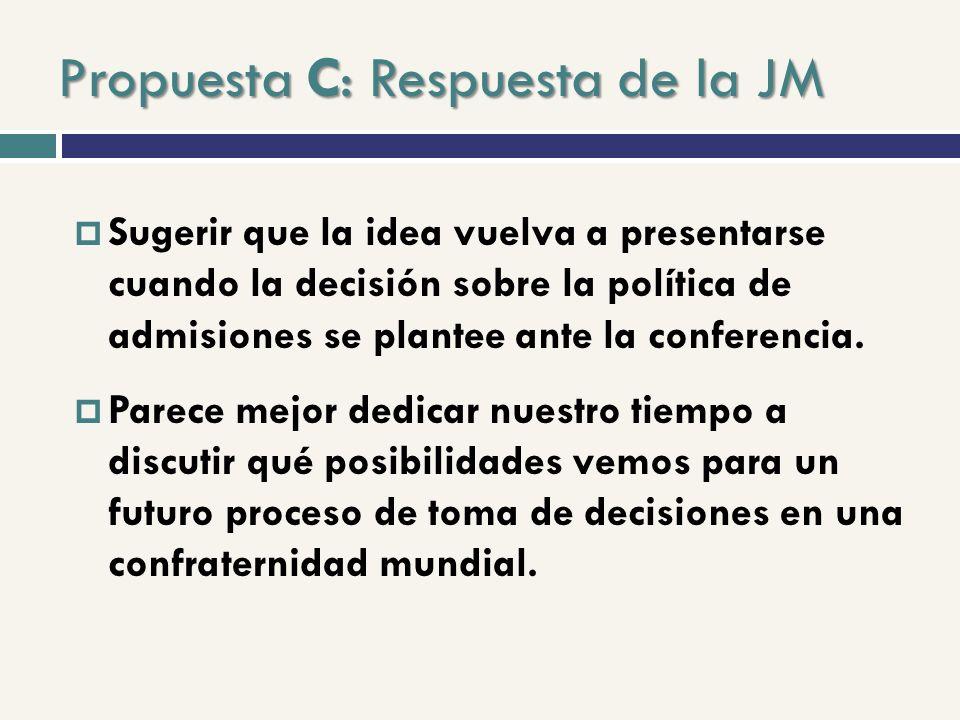 Propuesta C: Respuesta de la JM Sugerir que la idea vuelva a presentarse cuando la decisión sobre la política de admisiones se plantee ante la conferencia.