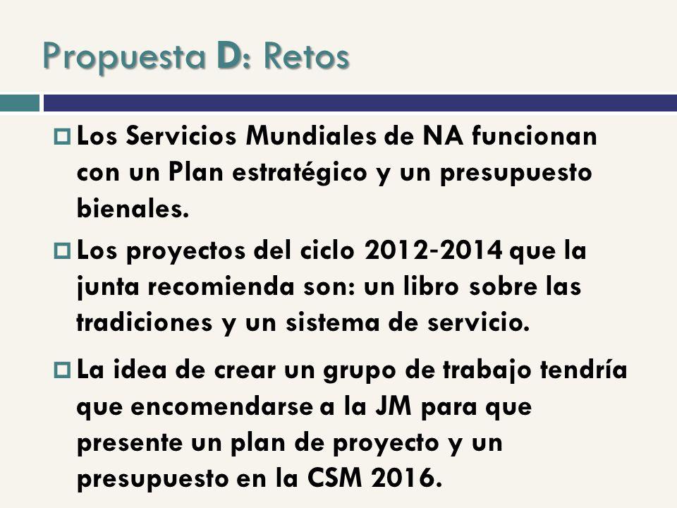 Propuesta D: Retos Los Servicios Mundiales de NA funcionan con un Plan estratégico y un presupuesto bienales.