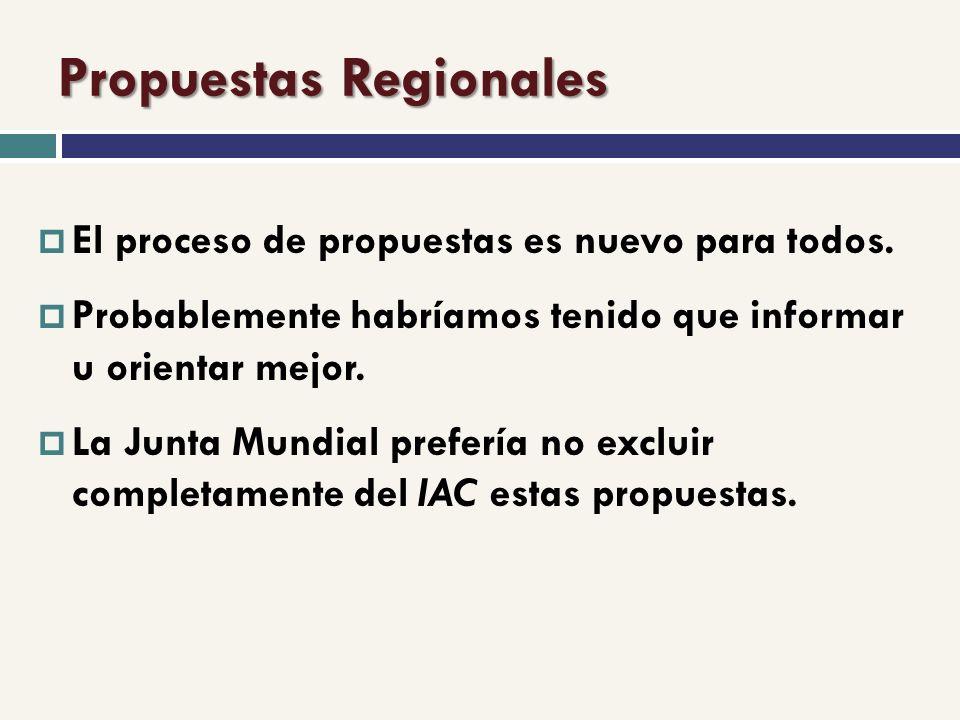 Propuestas Regionales El proceso de propuestas es nuevo para todos.