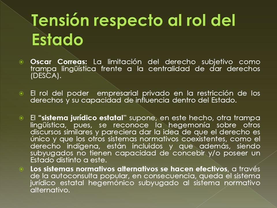 Oscar Correas: La limitación del derecho subjetivo como trampa lingüística frente a la centralidad de dar derechos (DESCA). El rol del poder empresari
