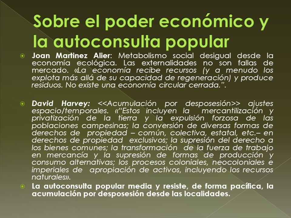 Joan Martinez Alier : Metabolismo social desigual desde la economía ecológica. Las externalidades no son fallas de mercado. «La economía recibe recurs