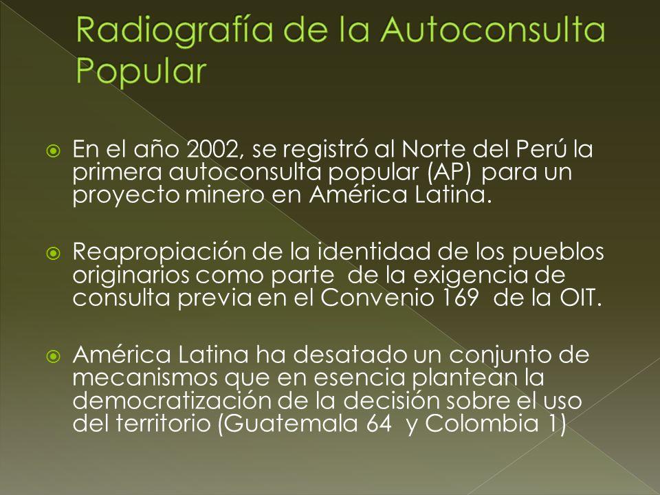 En el año 2002, se registró al Norte del Perú la primera autoconsulta popular (AP) para un proyecto minero en América Latina. Reapropiación de la iden