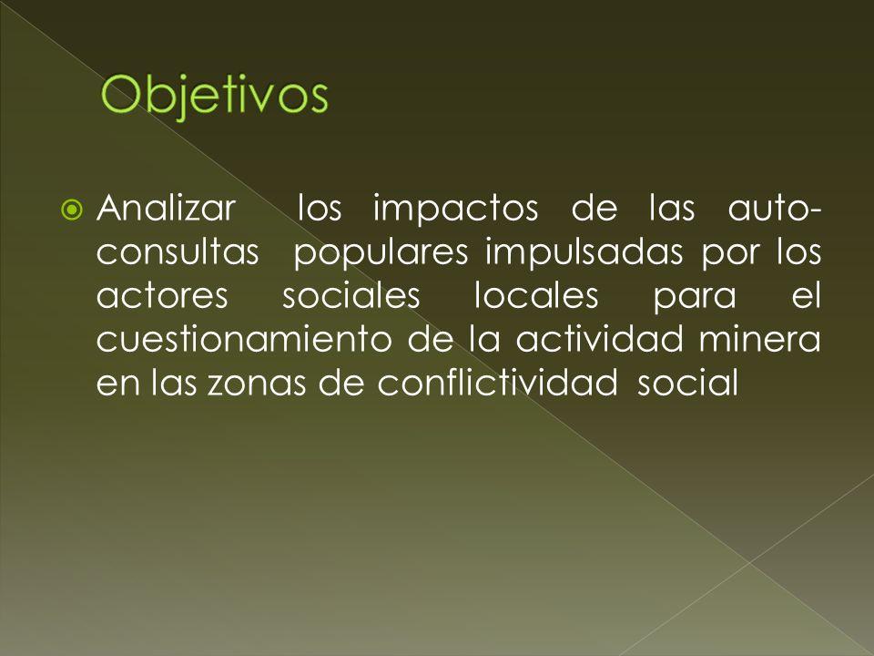 Analizar los impactos de las auto- consultas populares impulsadas por los actores sociales locales para el cuestionamiento de la actividad minera en l