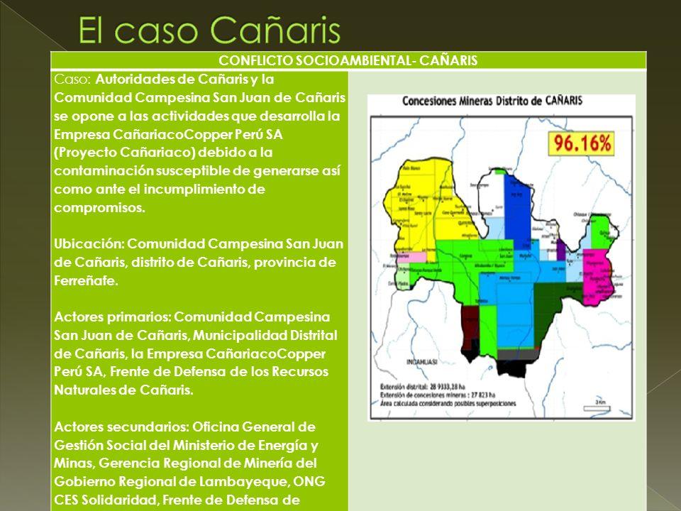 CONFLICTO SOCIOAMBIENTAL- CAÑARIS Caso: Autoridades de Cañaris y la Comunidad Campesina San Juan de Cañaris se opone a las actividades que desarrolla