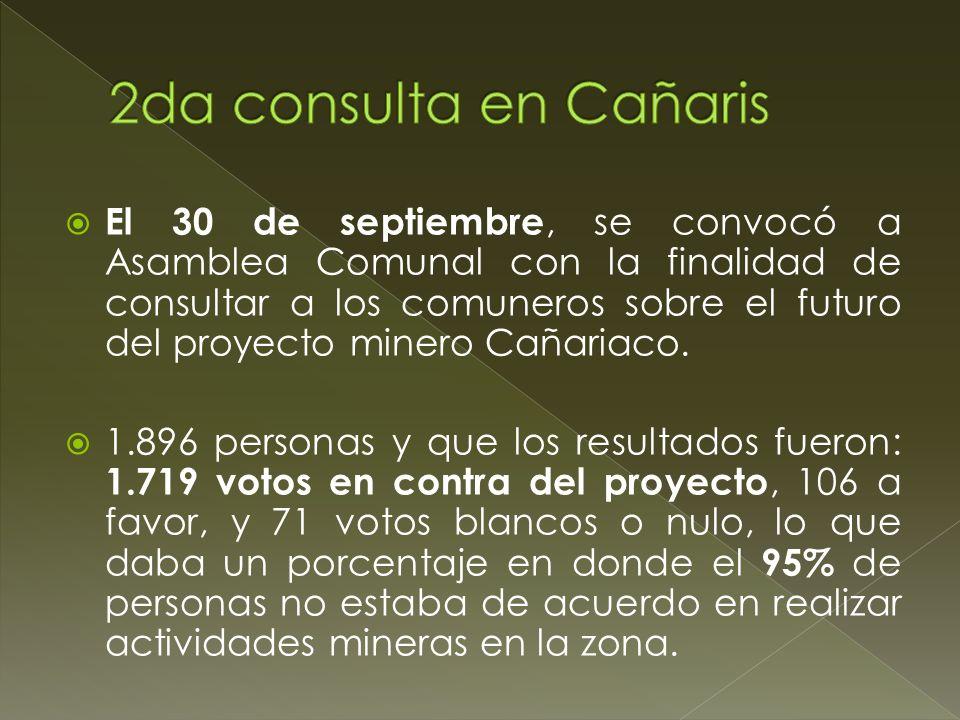 El 30 de septiembre, se convocó a Asamblea Comunal con la finalidad de consultar a los comuneros sobre el futuro del proyecto minero Cañariaco. 1.896