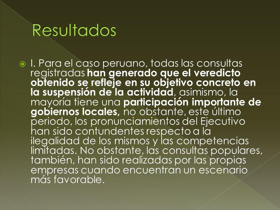 I. Para el caso peruano, todas las consultas registradas han generado que el veredicto obtenido se refleje en su objetivo concreto en la suspensión de