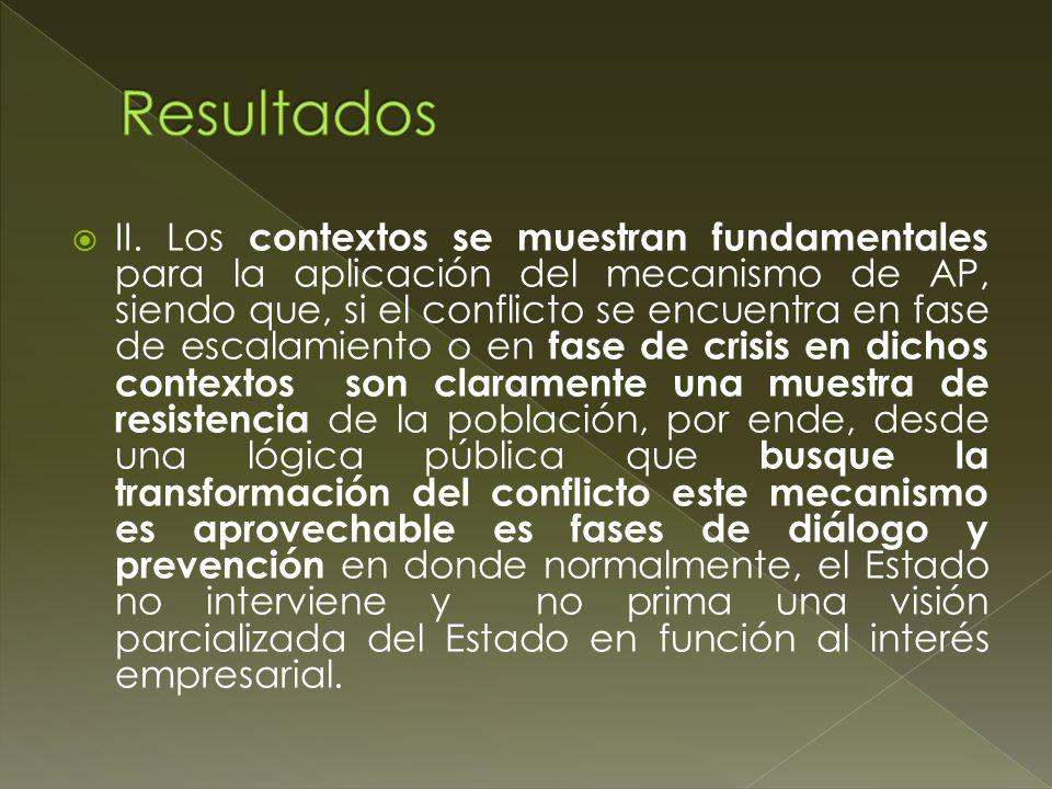 II. Los contextos se muestran fundamentales para la aplicación del mecanismo de AP, siendo que, si el conflicto se encuentra en fase de escalamiento o