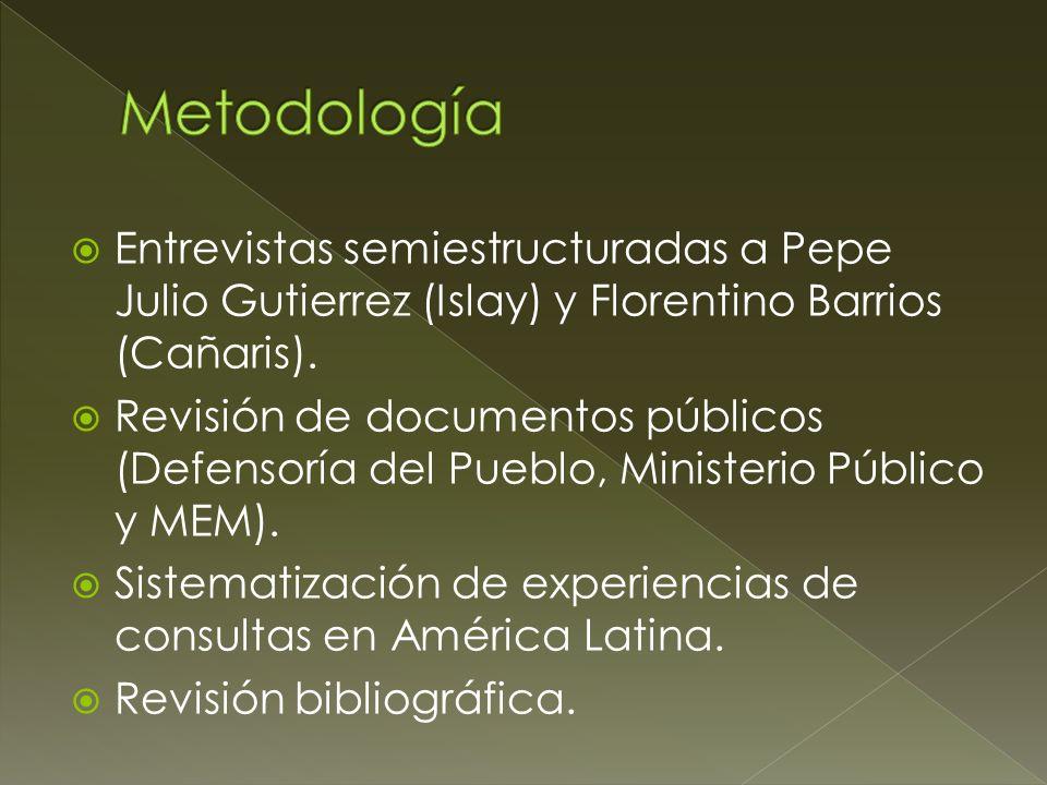 Entrevistas semiestructuradas a Pepe Julio Gutierrez (Islay) y Florentino Barrios (Cañaris). Revisión de documentos públicos (Defensoría del Pueblo, M