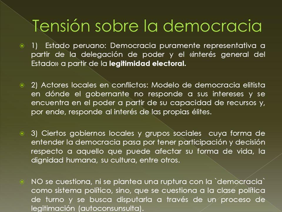 200220072008 20092012 Autoconsultas populares en Perú Tambogrande (Piura- Perú Ayabaca ( Piura- Perú) Michiquillay (Cajamarca- Perú) Tarata y Candarave (Tacna- Perú) Islay (Arequipa- Perú) Cañaris (Lambayeque- Perú) Consulta vecinal (98% dijo NO) Consulta popular (95% dijo NO ) Acuerdo Previo/ Consulta vecinal ( +/- el 60% dijo SÍ) Consulta vecinal (98% dijo NO) Consulta popular/Consult a vecinal (80% dijo NO) Consulta comunitaria (95% dijo NO) La conflictividad por parte del Estado se enfrentó con el usó la coacción como un mecanismo central de cara al conflicto.
