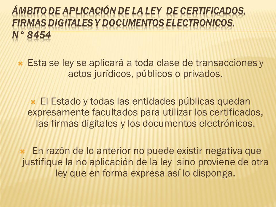 Esta se ley se aplicará a toda clase de transacciones y actos jurídicos, públicos o privados. El Estado y todas las entidades públicas quedan expresam