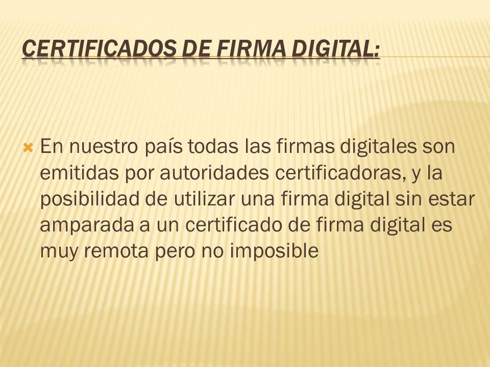 En nuestro país todas las firmas digitales son emitidas por autoridades certificadoras, y la posibilidad de utilizar una firma digital sin estar ampar