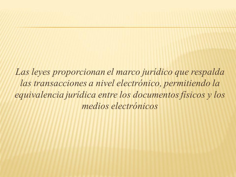 Las leyes proporcionan el marco jurídico que respalda las transacciones a nivel electrónico, permitiendo la equivalencia jurídica entre los documentos