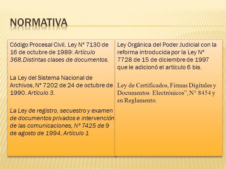 Código Procesal Civil, Ley Nº 7130 de 16 de octubre de 1989: Artículo 368.Distintas clases de documentos. La Ley del Sistema Nacional de Archivos, Nº