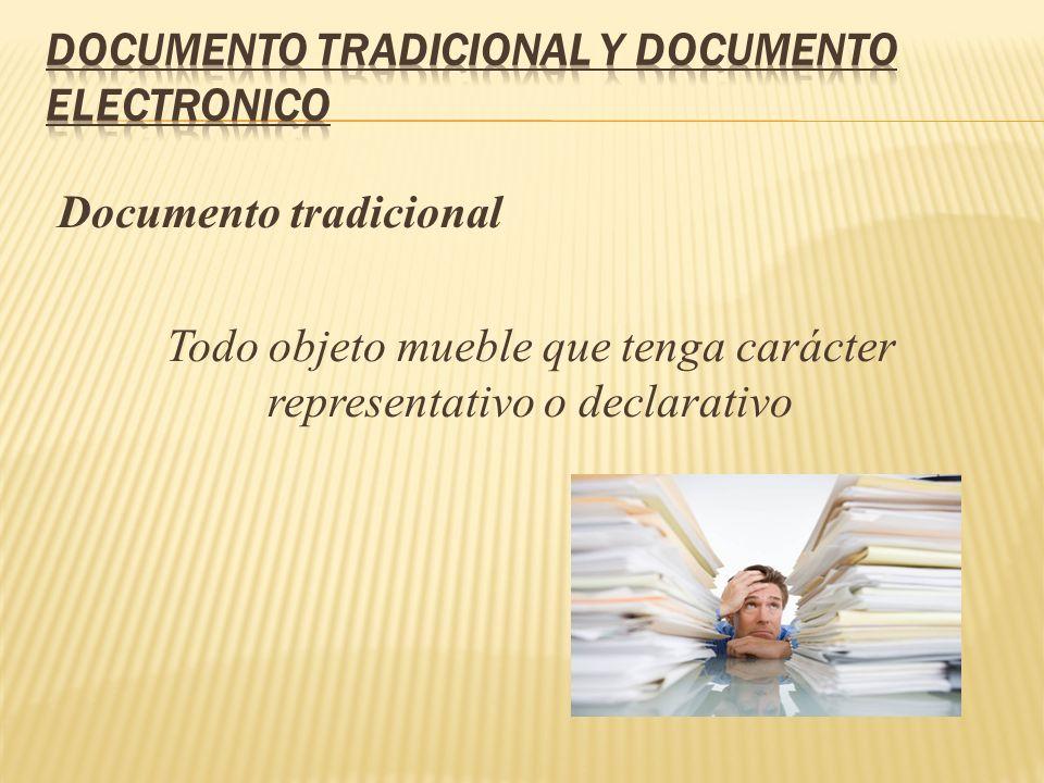 Documento tradicional Todo objeto mueble que tenga carácter representativo o declarativo