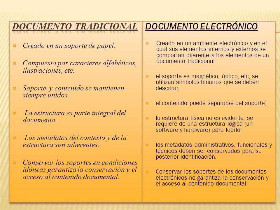 DOCUMENTO ELECTRÓNICO Creado en un ambiente electrónico y en el cual sus elementos internos y externos se comportan diferente a los elementos de un do