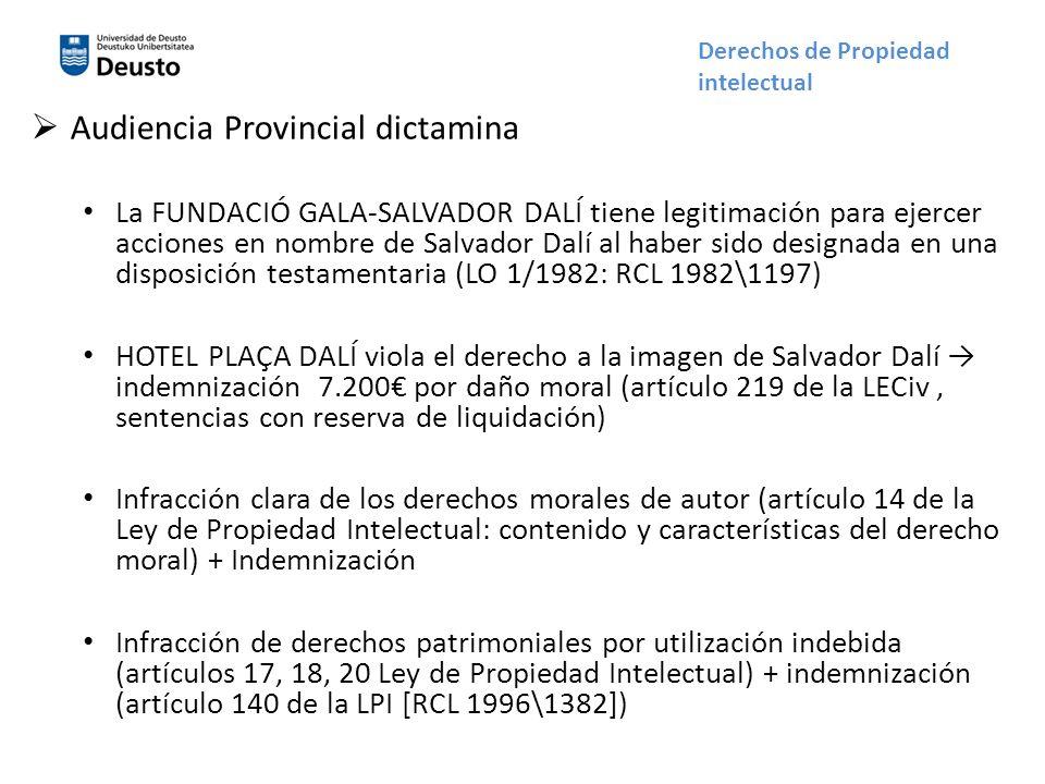 Audiencia Provincial dictamina La FUNDACIÓ GALA-SALVADOR DALÍ tiene legitimación para ejercer acciones en nombre de Salvador Dalí al haber sido design