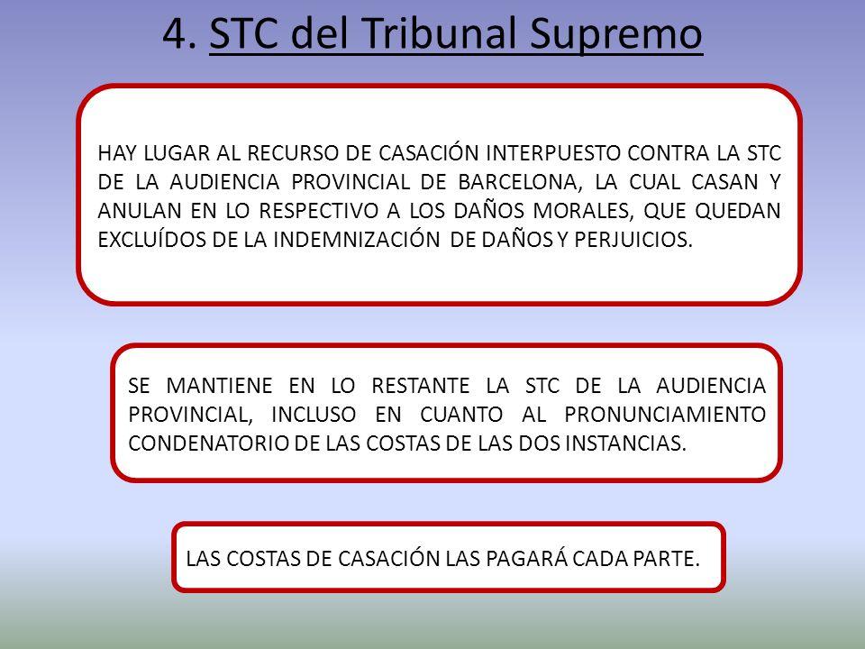 4. STC del Tribunal Supremo HAY LUGAR AL RECURSO DE CASACIÓN INTERPUESTO CONTRA LA STC DE LA AUDIENCIA PROVINCIAL DE BARCELONA, LA CUAL CASAN Y ANULAN