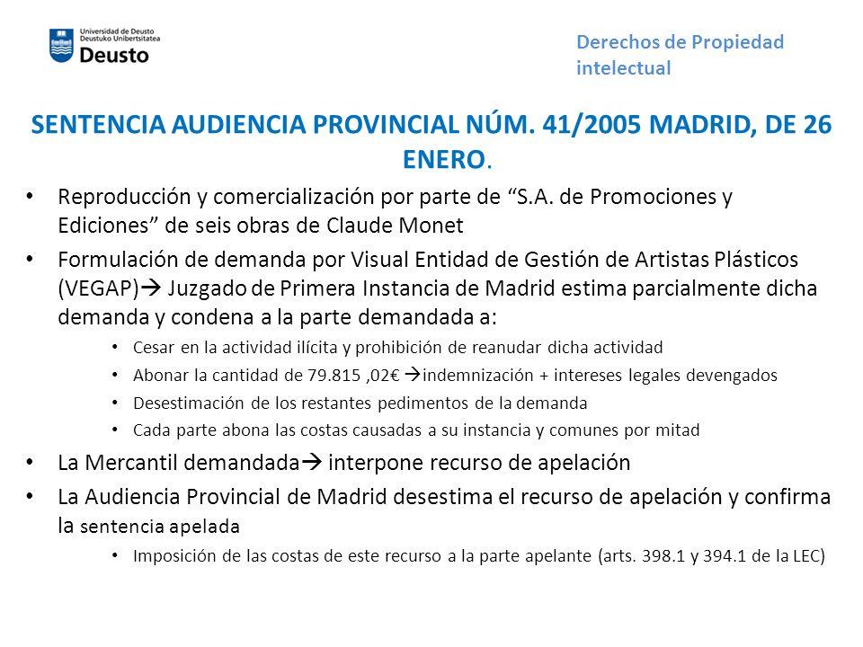 SENTENCIA AUDIENCIA PROVINCIAL NÚM. 41/2005 MADRID, DE 26 ENERO. Reproducción y comercialización por parte de S.A. de Promociones y Ediciones de seis
