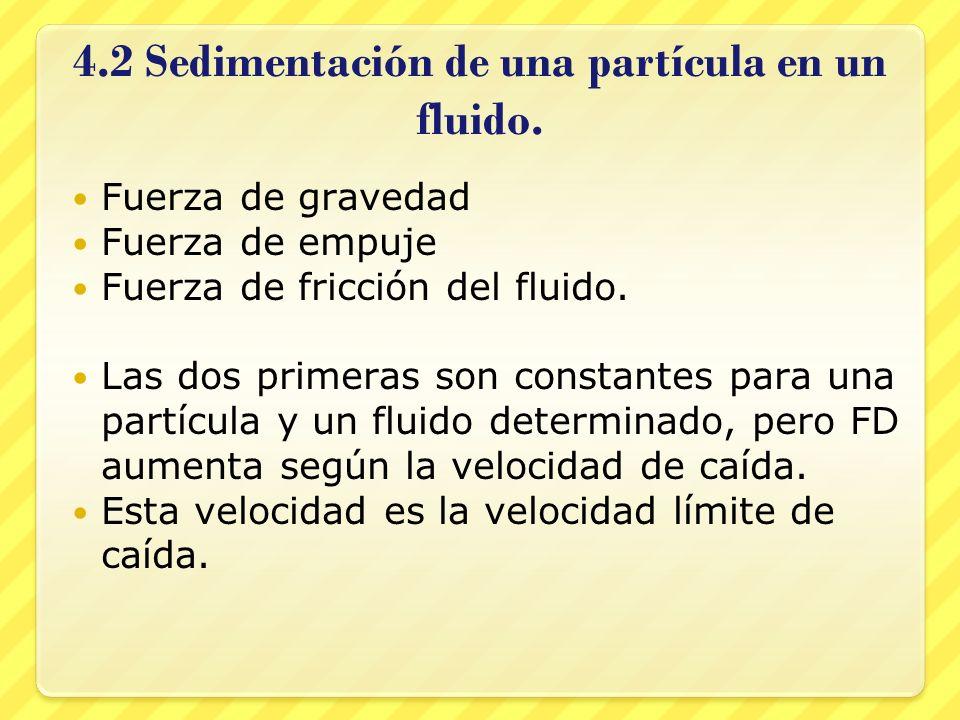 4.2 Sedimentación de una partícula en un fluido. Fuerza de gravedad Fuerza de empuje Fuerza de fricción del fluido. Las dos primeras son constantes pa