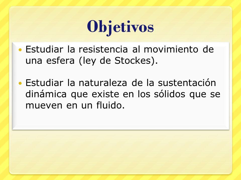 Objetivos Estudiar la resistencia al movimiento de una esfera (ley de Stockes). Estudiar la naturaleza de la sustentación dinámica que existe en los s
