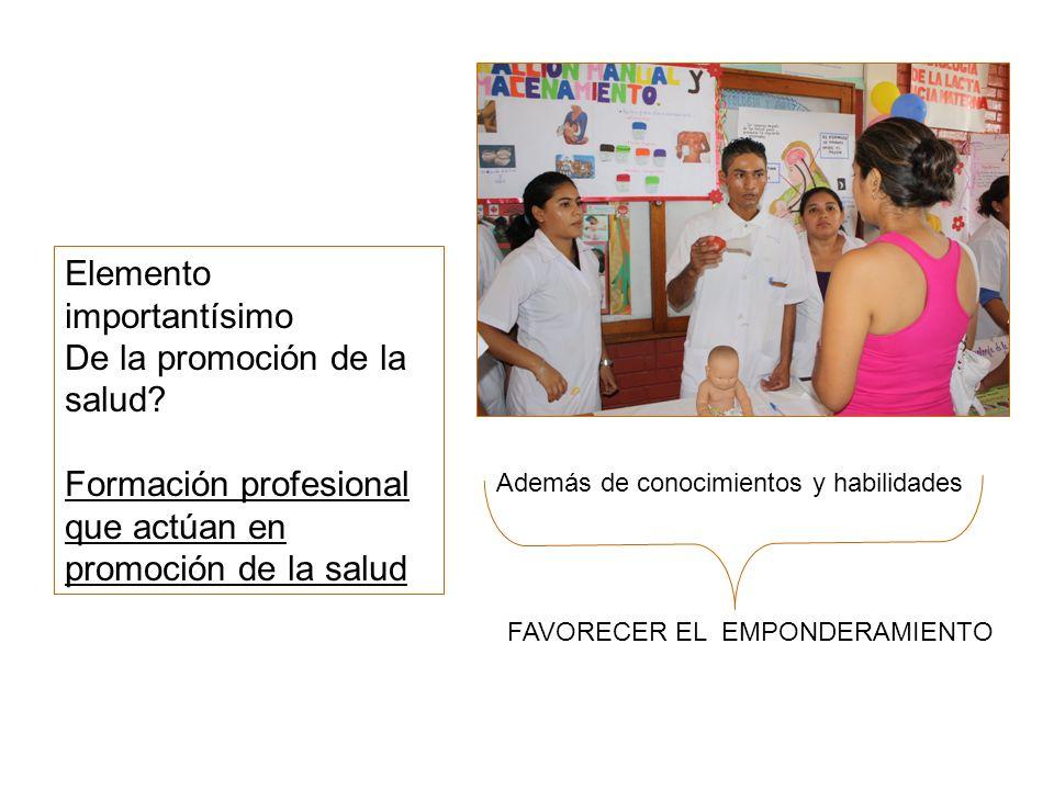 Elemento importantísimo De la promoción de la salud? Formación profesional que actúan en promoción de la salud Además de conocimientos y habilidades F