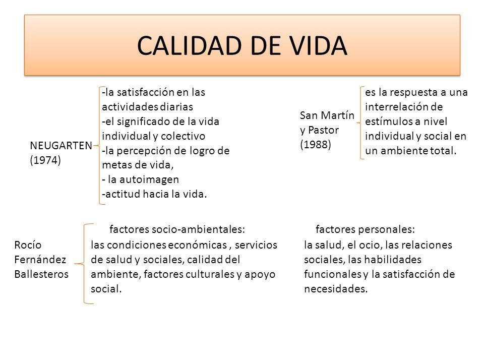 CALIDAD DE VIDA -la satisfacción en las actividades diarias -el significado de la vida individual y colectivo -la percepción de logro de metas de vida