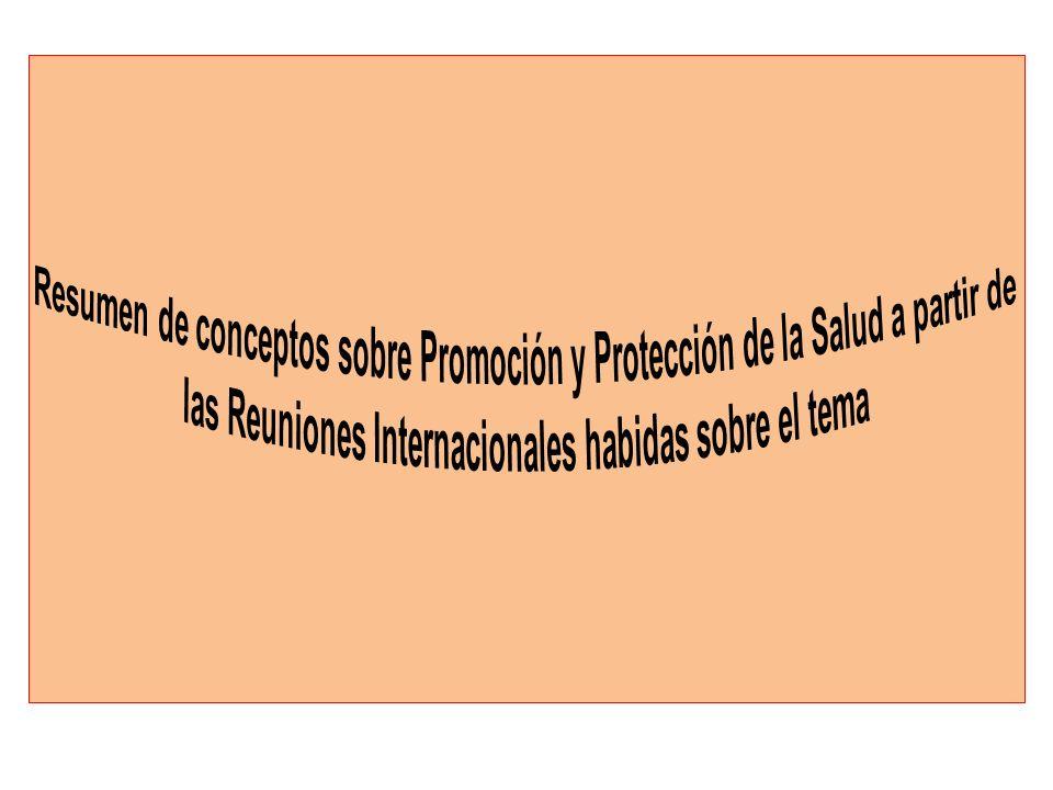 La Carta de Ottawa (1986-Canadá), fue el resultado de la Primera Conferencia Internacional sobre Promoción de la Salud.