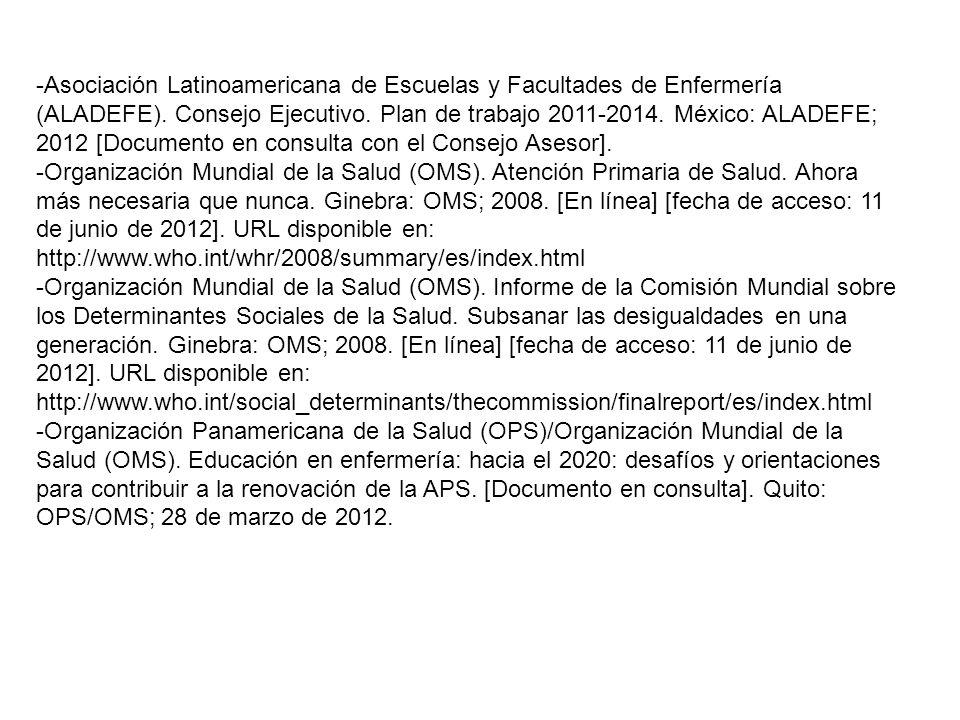 -Asociación Latinoamericana de Escuelas y Facultades de Enfermería (ALADEFE). Consejo Ejecutivo. Plan de trabajo 2011-2014. México: ALADEFE; 2012 [Doc