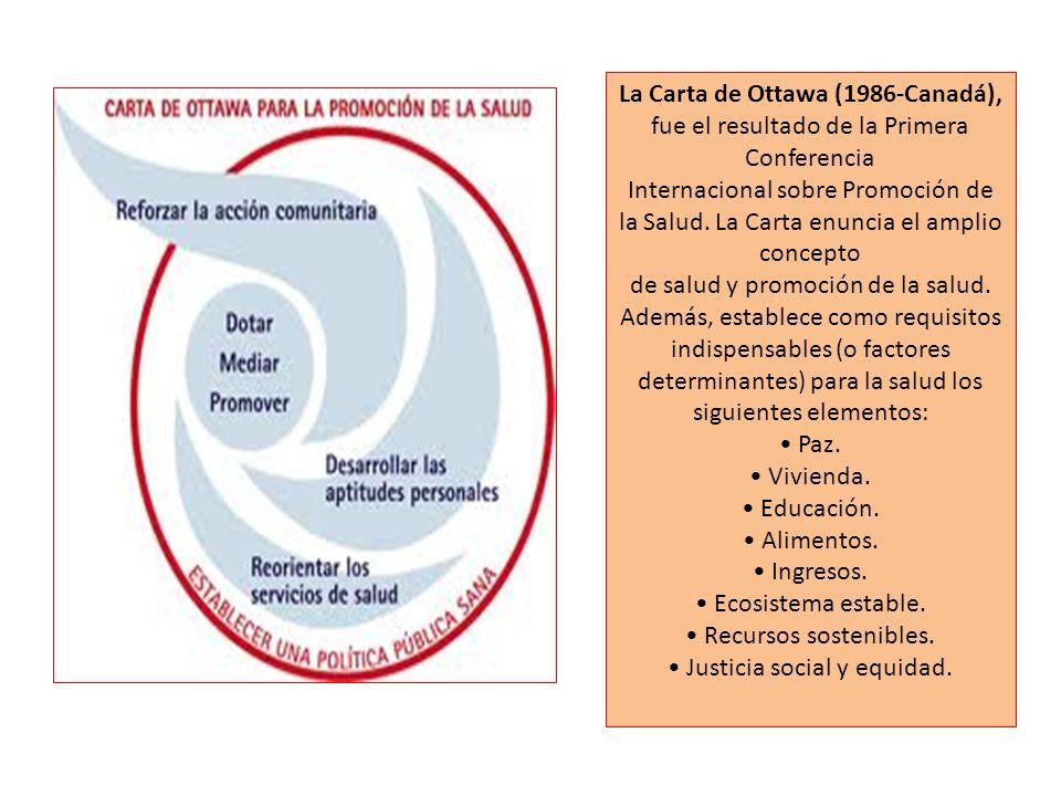 La Carta de Ottawa (1986-Canadá), fue el resultado de la Primera Conferencia Internacional sobre Promoción de la Salud. La Carta enuncia el amplio con
