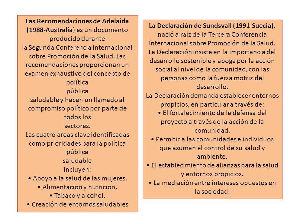 Las Recomendaciones de Adelaida (1988-Australia) es un documento producido durante la Segunda Conferencia Internacional sobre Promoción de la Salud. L