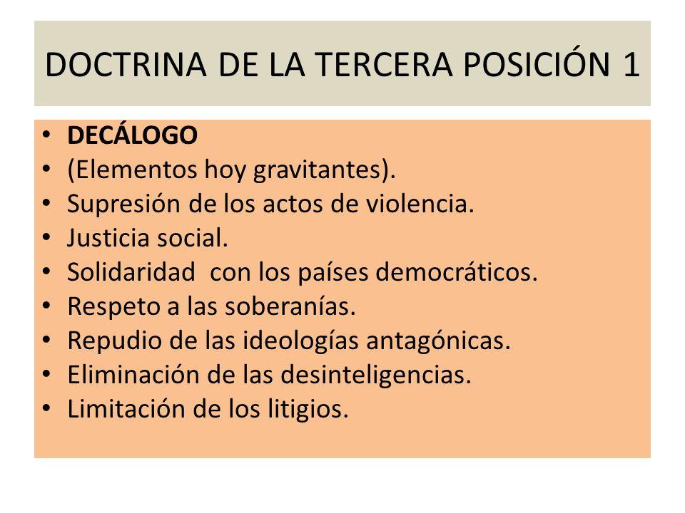 DOCTRINA DE LA TERCERA POSICIÓN 1 DECÁLOGO (Elementos hoy gravitantes). Supresión de los actos de violencia. Justicia social. Solidaridad con los país