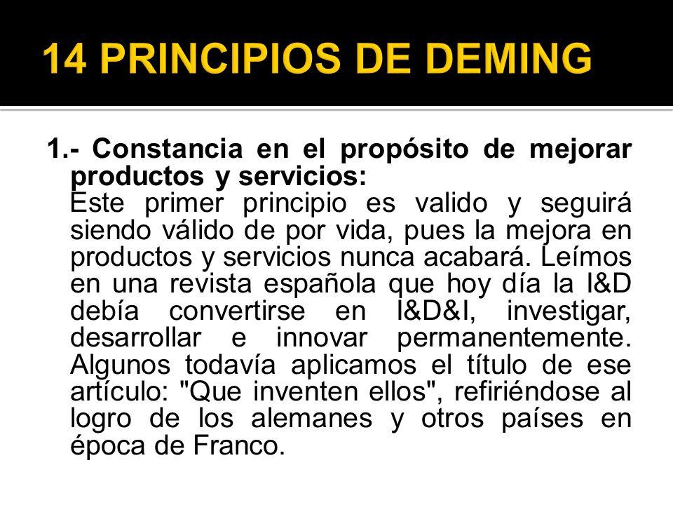 1.- Constancia en el propósito de mejorar productos y servicios: Este primer principio es valido y seguirá siendo válido de por vida, pues la mejora e
