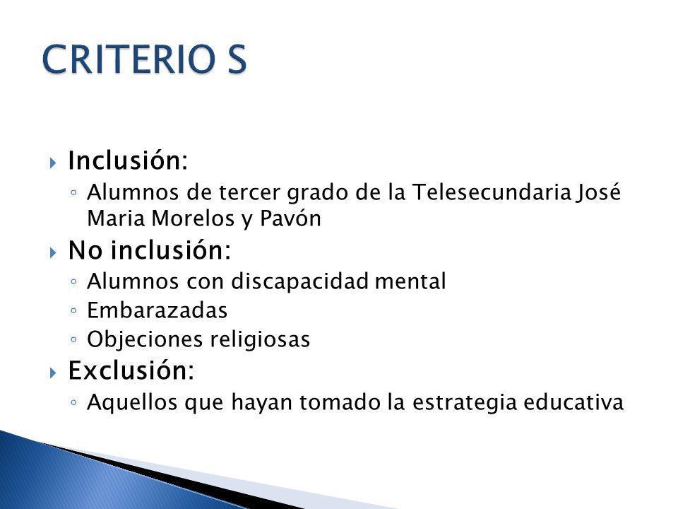 Inclusión: Alumnos de tercer grado de la Telesecundaria José Maria Morelos y Pavón No inclusión: Alumnos con discapacidad mental Embarazadas Objecione