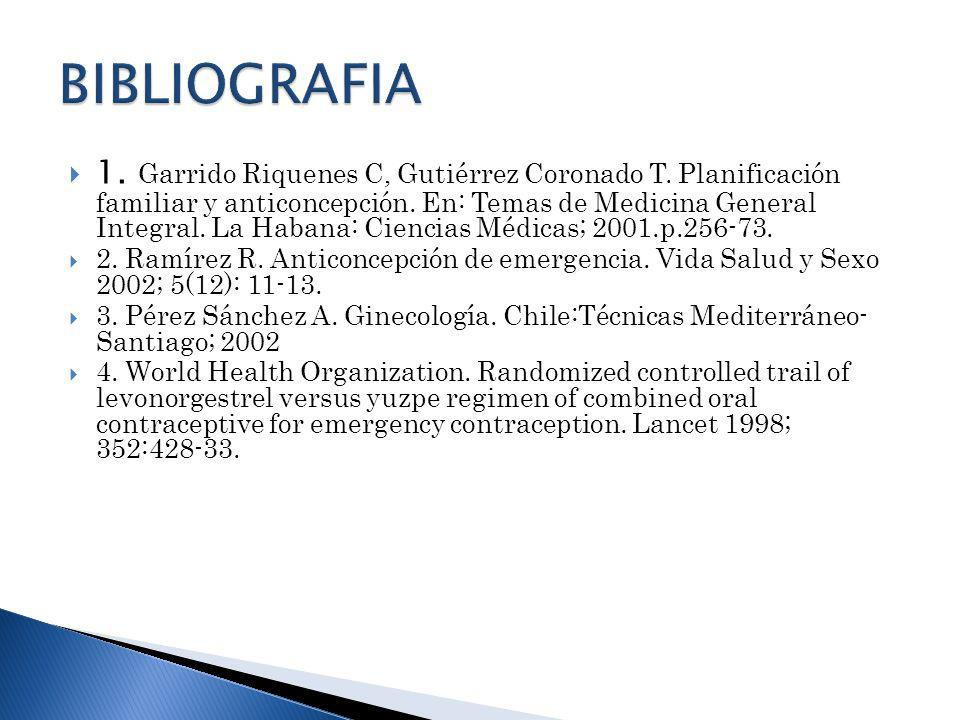 1. Garrido Riquenes C, Gutiérrez Coronado T. Planificación familiar y anticoncepción. En: Temas de Medicina General Integral. La Habana: Ciencias Médi