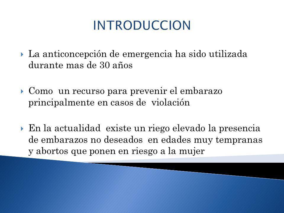 INTRODUCCION La anticoncepción de emergencia ha sido utilizada durante mas de 30 años Como un recurso para prevenir el embarazo principalmente en caso