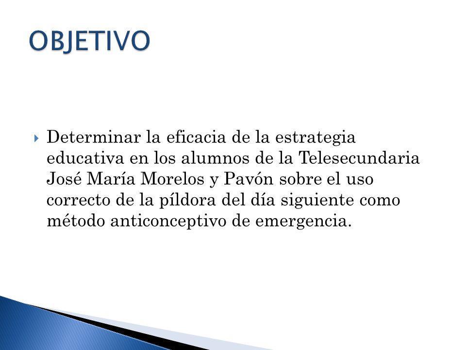 Determinar la eficacia de la estrategia educativa en los alumnos de la Telesecundaria José María Morelos y Pavón sobre el uso correcto de la píldora d