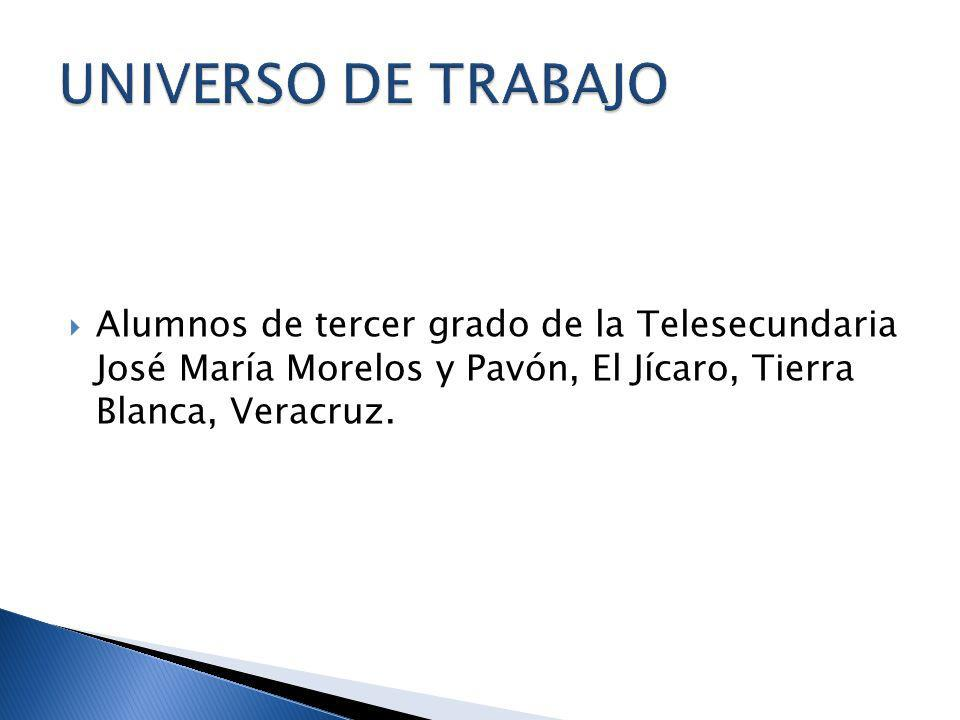 Alumnos de tercer grado de la Telesecundaria José María Morelos y Pavón, El Jícaro, Tierra Blanca, Veracruz.