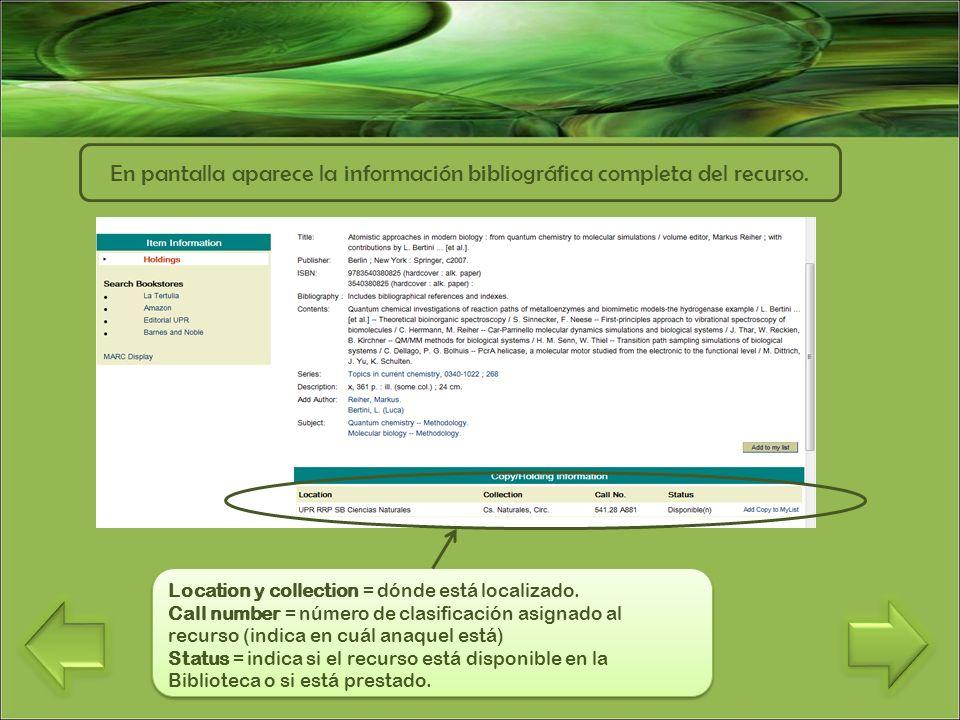 En pantalla aparece la información bibliográfica completa del recurso.