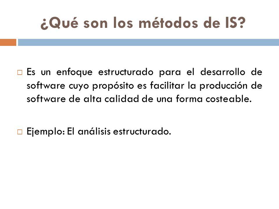 ¿Qué son los métodos de IS? Es un enfoque estructurado para el desarrollo de software cuyo propósito es facilitar la producción de software de alta ca