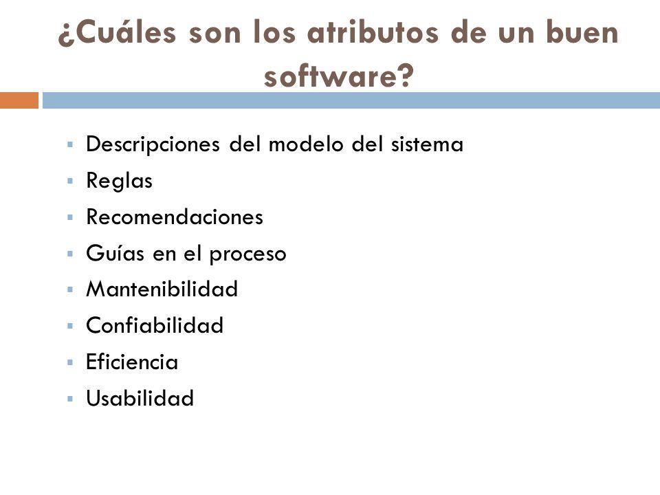 ¿Cuáles son los atributos de un buen software? Descripciones del modelo del sistema Reglas Recomendaciones Guías en el proceso Mantenibilidad Confiabi