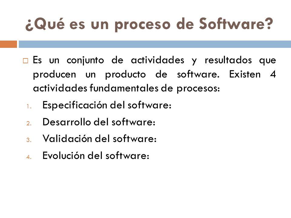 ¿Qué es un proceso de Software? Es un conjunto de actividades y resultados que producen un producto de software. Existen 4 actividades fundamentales d