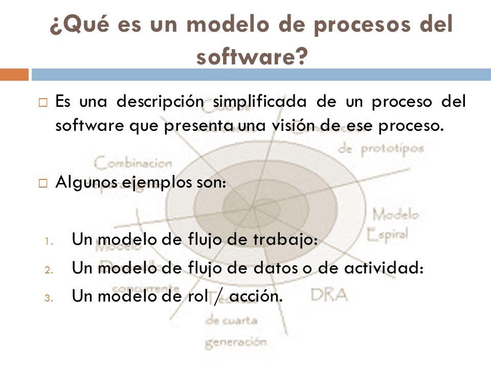 ¿Qué es un modelo de procesos del software? Es una descripción simplificada de un proceso del software que presenta una visión de ese proceso. Algunos