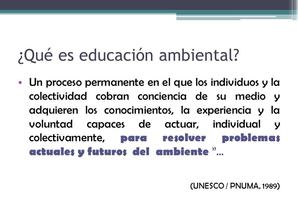 ¿Qué es educación ambiental? Un proceso permanente en el que los individuos y la colectividad cobran conciencia de su medio y adquieren los conocimien